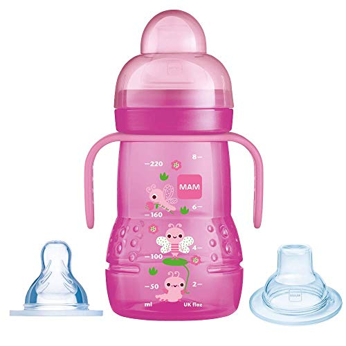 MAM Trainer+ 220ml - Babyflasche und Becher 2-in-1 (4+ Monate - Farbe: Rosa)