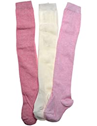 3 pack of Plain Pinks & Cream Cotton Baby Tights - Multipack