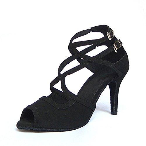 YFF Regalo donne danza scarpe ballo latino ballo tango danza scarpe 7.5CM Black