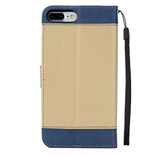 Hülle für iPhone 7 Plus, Tasche für iPhone 7 Plus, Case Cover für iPhone 7 Plus, ISAKEN Blume Schmetterling Muster Folio PU Leder Flip Cover Brieftasche Geldbörse Wallet Case Ledertasche Handyhülle Ta Rose Kinder Gold