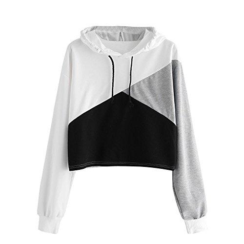 Sweatshirt Femme Imprimé, LMMVP Femmes Sweat à Capuche Patchwork Manche Longue Pullover Sweat-shirt Chemisier (S, BLANC)