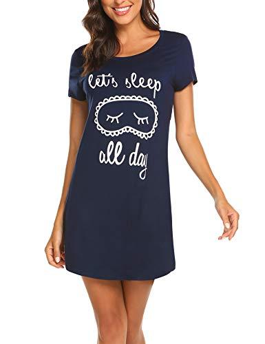 0e6e54bb86193c MAXMODA Damen Nachthemd Kurzarm Nachtwäsche Negligees Schlafhemd T-Shirt  Sleepshirt