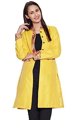 Schöne Faux Silk langer jakcet Frauen Ethnische Coat Top Indien Bekleidung Geschenk für sie Gelb