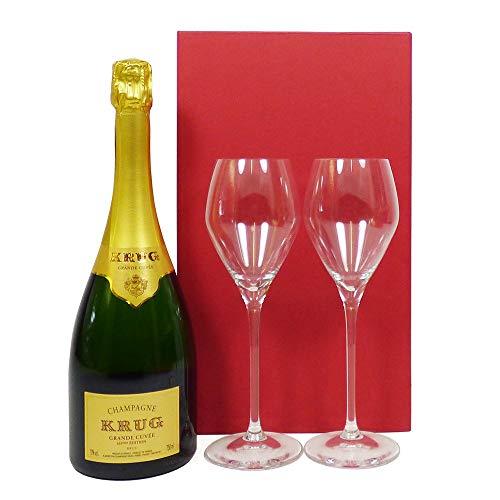 Champagne da 75 cl Krug Grande Cuvee e 2 bicchieri Krug firmati presentati in una confezione regalo...