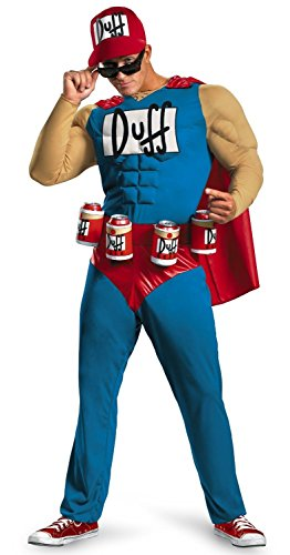Duffman Kostüm Simpsons - MyPartyShirt Duffman The Simpsons Deluxe Adult Muscle Costume-Adult XL