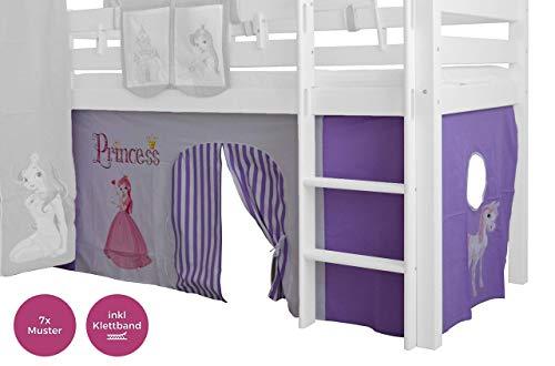 XXL Discount Vorhang Set für mädchen 100{43ae2b85cae35877bcbf5687727baa4e9c63940dd9b23e3b0b39fa30489ef325} Baumwolle Stoffvorhang Bettvorhang inkl Klettband für Hochbett Spielbett Etagenbett Stockbett Kinderbett (Lila/Weiß, Prinzessin)