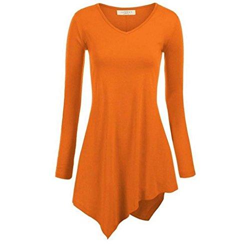 Minetom Donne Casual Vestito Irregolare Orlare Moda Cime Camicetta Molti Colori Arancione