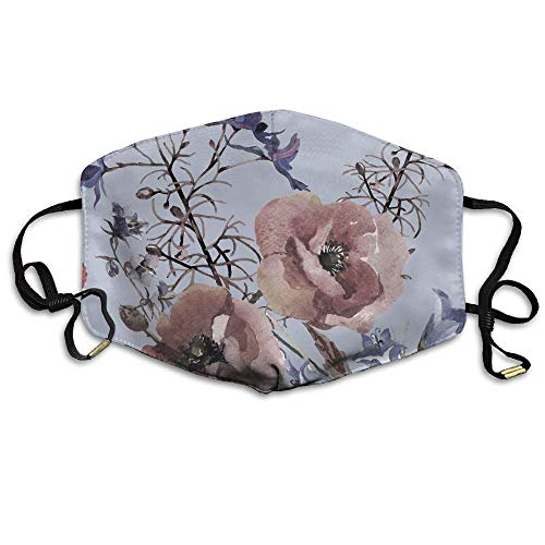 ne, Mouth Mask, Mask Anti Dust, Watercolor Peach Blossoms and Butterflies Face Mask, Reuseable Polyester Face Mouth Mask Respirator for Cycling Anti-Dust for Unisex Men Women Girls ()