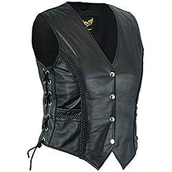 Leatherick Chaleco de Cuero Trenzado para Motocicleta, para Mujer, Color Negro Negro Negro (50