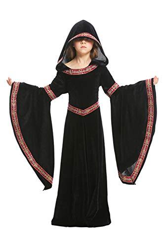 Manfu Kinderkostüm Mädchen Mittelalter Kostüm mittelalterlichen Adels Palast Prinzessin Kleid Viktorianischen Königin Kostüm Halloween Hexe Vampir kostüm S (Halloween-themed Kleid Hochzeit)