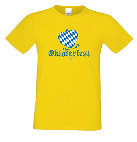Herren Burschen Fun-Tshirt Outfit Motiv Oktoberfest Herz zur Wiesn Volksfest-Zeit, Dult Bierzelt Kirmes herzlich Geschenk Farbe: gelb Gelb