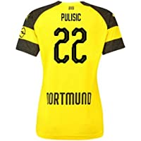 2018-2019 Borussia Dortmund Home Ladies Puma Football Soccer T-Shirt Camiseta (Christian Pulisic 22)