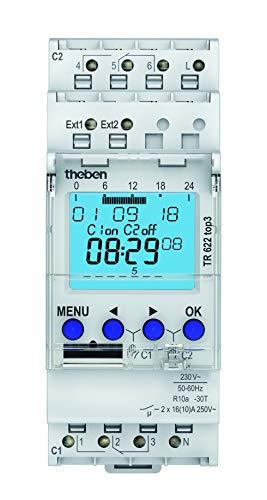 Theben 6220130 TR 622 top3 - digitale Zeitschaltuhr, 2 Kanäle, App-Programmierung möglich, Schaltuhr