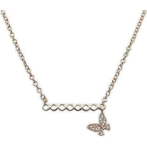 Lan Fan Elegante Collana con pendente a farfalla Moda - Argento Nome Blocco Collana