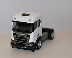 Herpa 309011 Scania CR XT semitrailer de construcción de Techo Plano, 2 Ejes, Color Blanco