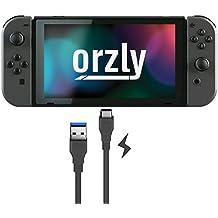 Cable tipo C de Orzly para la Nintendo Switch - NEGRO 1M - Cable tipo C para recargar la tableta y los mandos de la Nintendo Switch - Desde Tipo C a Estándar USB (USB 3.0)