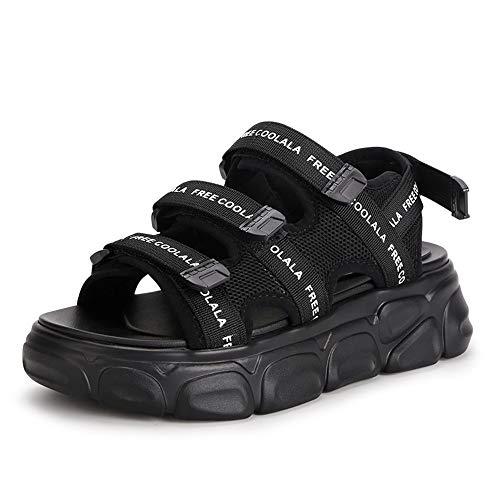 Willsky Damen Sandalen, Outdoor Sport Sandalen Flache Chunky Sommer Sandalen Klettverschluss Open Toe Light Komfortable Strand Casual,Black,36