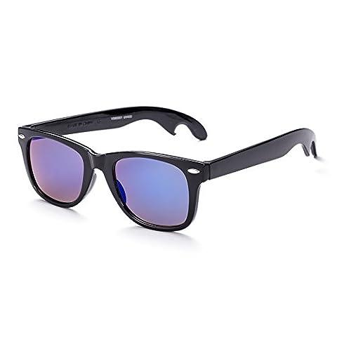 Hmilydyk Wayfarer Lunettes de soleil Homme polarisées classique Shades Horn cerclé Style rétro avec étui à lunettes–UV400, Black Frame Beige