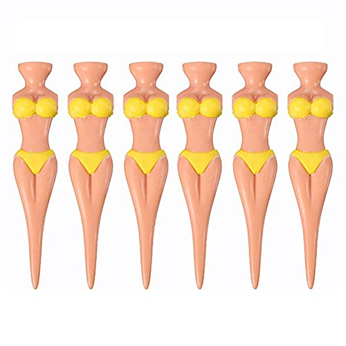 (Terzsl 6 Stück Training Bikini Lady Model Tragbare Golf Tees Club Ball Halter Zubehör, gelb)