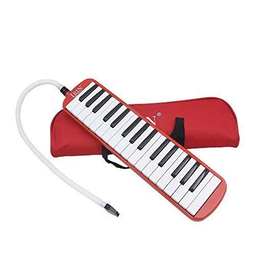 Ammoon Keyboard mit 32Tasten, Musikpädagogik, Kinder und Anfänger, mit Tragetasche rot