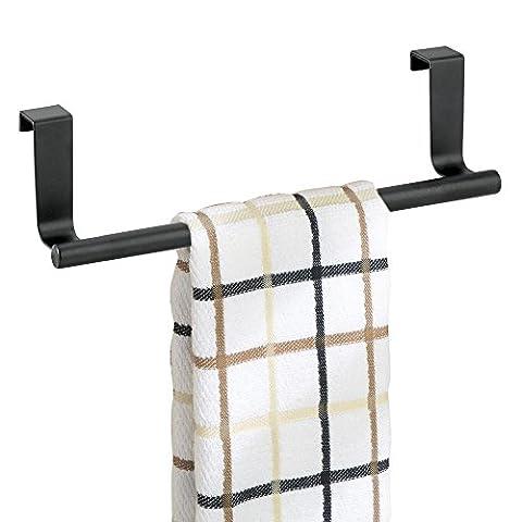 mDesign Over the Cabinet Kitchen Dish Towel Bar Holder - 23 cm, Matte Black