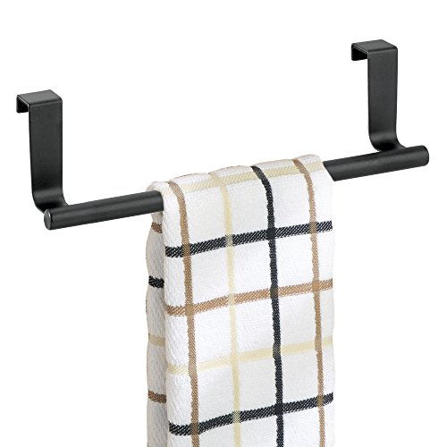 mDesign Soporte para toallas y repasadores -Toallero para cocina colgante - Accesorio para armario, se coloca sobre la puerta sin herramientas - 23 cm - negro mate