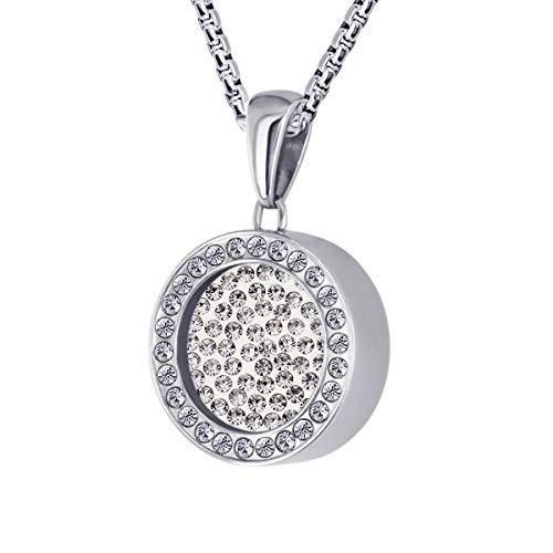 Quiges Silber Edelstahl Anhänger 12mm Mini Coin Halter mit Zirkonia und Weiße Zirkonia Coin mit Kette 42 + 4cm Verlängerungskette