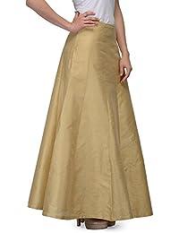 BuyNewTrend Beige Silk Plain Skirt For Women