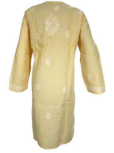 Mogul Innen Damen Blumen embroide Baumwolle Yoga Top Kleid Gelb