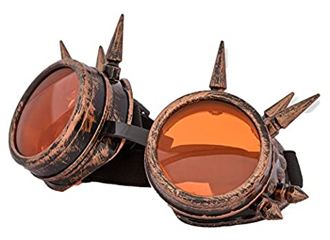 4sold (TM) Cyber Goggles Black with Cyber Spikes Steam Punk