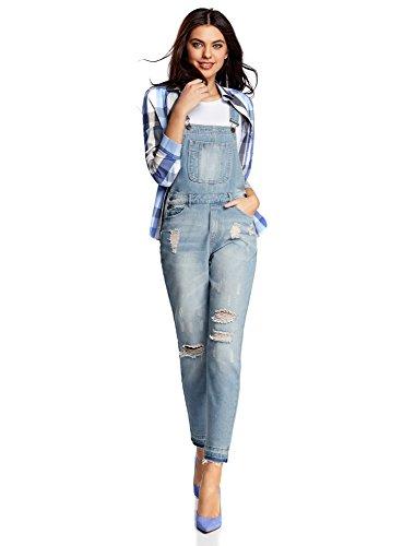 oodji Ultra Damen Jeans-Latzhose mit dekorativen Waschungen, Blau, DE 38 / EU 40 / M