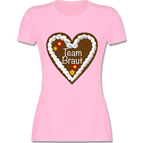 JGA Junggesellinnenabschied - Lebkuchenherz Team Braut - L - Rosa - L191 - Damen T-Shirt Rundhals