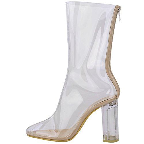 Donna Stivali Caviglia Donna Perspex Trasparente A Blocco Tacco Alto Da Festa Scarpe Alla Moda Numero Perspex Trasparente / Trasparente Tacco