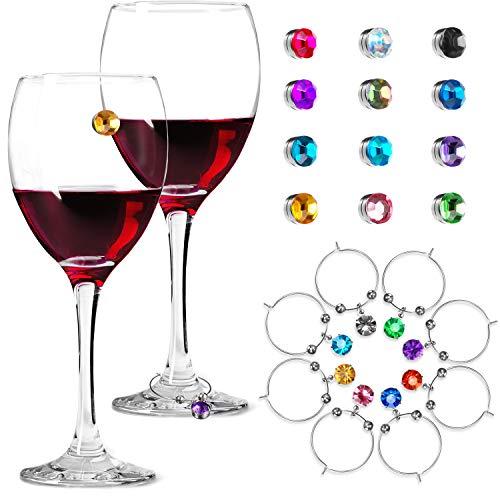12 Stück Kristall Magnet Glas Charm Magnetische Getränke Marker 8 Stück Weinglas Charm Weinglas Ringe Anhänger für Becher, Champagner Flöten Cocktails Martinis