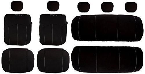 Set Completo di coprisedili per Auto Momo, Nero-Grigio (Airbag Compatibile/Cerniera Posteriore/Poliestere)