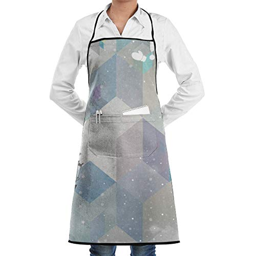 Winter Streetlights Snowflake Diamond Adjustable Kitchen Chef Apron with Pocket & Extra-Long Ties,Men & Women Bib Apron Cute Apron for Cooking,Baking,Crafting,Gardening,BBQ Waitress Aprons Diamond Mens Tie