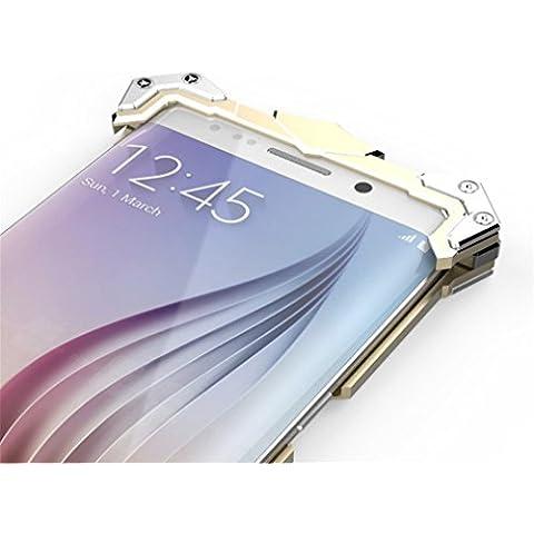 S6, S6Edge casi, DDJ alluminio Armor Thor Ironman antiurto in metallo duro Custodia Cover Bumper per Samsung Galaxy S6, Alluminio, Gold, S6 Edge