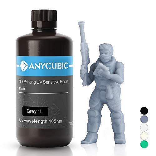ANYCUBIC 3D Drucker UV Resin 405nm schnellhärtendes Photopolymer für den Photon/S flüssiges 3D Resin hochpräzise für LCD/DLP/SLA 3D Drucker, 1L Grau