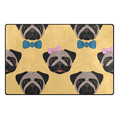 FANTAZIO Teppich, niedliche Mops, Schleifenmuster, Einstiegs-Fußmatte, Anti-Krallen, ideal als Teppich-Stopper, 79 x 51 cm, Polyester, 1, 31 x 20 inch - Indische Mop