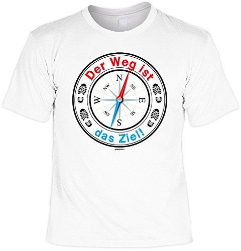 Wander T-Shirt Der Weg ist das Ziel Kletter Bergsteiger Fun Shirt 4 Heroes Geburtstag Geschenk geil bedruckt Weiß