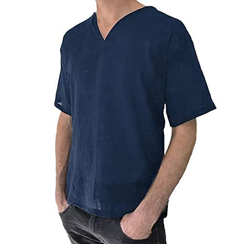MEIbax Herren Baggy Baumwolle Leinen Kurzarm Retro T-Shirts Männer Hemden Knopf Retro V Neck Oberteil - Crew-long Sleeve Work Shirt