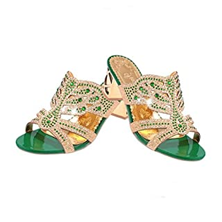 OHQ Hausschuh Damen, Mode Offene Zehe Schuhe Bohemia Heels Weiche Flache Sandalen Segeltuch Bequem Pantoffel Outdoor Indoor Slide Rutschfeste Schuhe in 2 Farben (40, Grün)