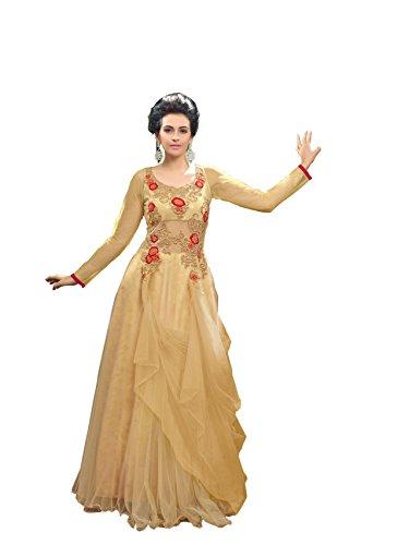 Blissta Beige partywear Long Net Gown Dress material