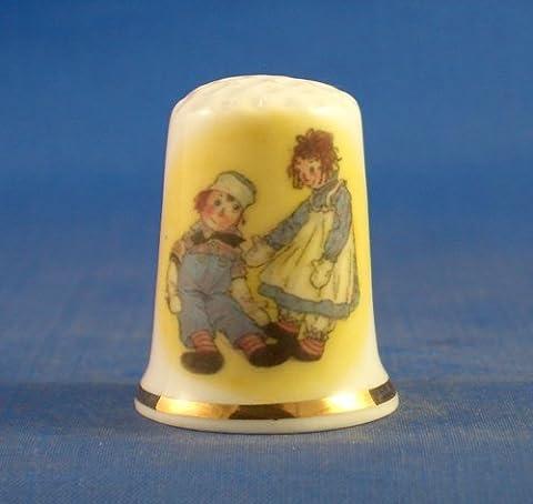 birchcroft Chine en porcelaine à collectionner dé à coudre –-Raggedy Ann & Andy aux