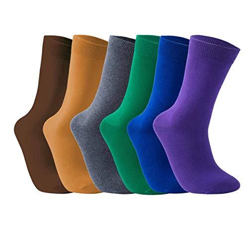 Vkele Bunt Socken (Lila & Dunkelblau & Grün & Grau & Dunkelgelb & Braun), 6 Paar 43-46