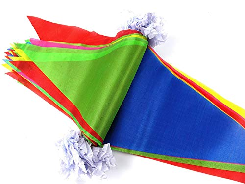 41p6TenQsdL - EDATOFLY 240M Multicolor Bandera banderín 450 Banderas banderines de Nailon Guirnalda de triángulo Decoraciones Banderas para Boda Decoracion cumpleaños Fiesta al Aire Libre jardín