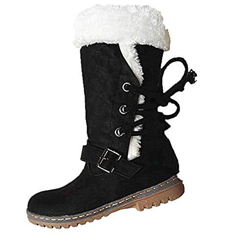 NEOKER Winterstiefel Damen Gefüttert Schneestiefel Bequeme Schuhe Blockabsatz Outdoor Schwarz Sneaker Schnüren Langschaft Stiefel Schwarz 41