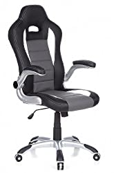 hjh OFFICE 621710 Racing Executive Chair Racer Sport Leatherette Gray / Black Gaming Chair Office chair, folding armrests