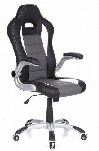 hjh OFFICE 621710 silla de gaming RACER SPORT piel sintética negro / gris, apoyabrazos plegables, respaldo inclinable, silla oficina, silla racing