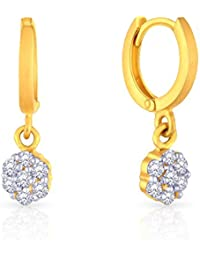 Malabar Gold and Diamonds 22k Yellow Gold and Cubic Zirconia Clip On Earrings for Women